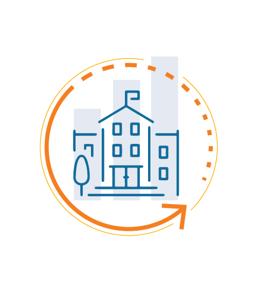 Higher education building icon