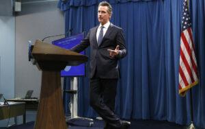 California Governor Gavin Newsom at Podium
